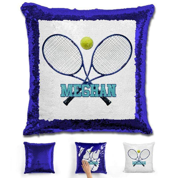 Tennis Personalized Magic Sequin Pillow Pillow GLAM Blue Blue