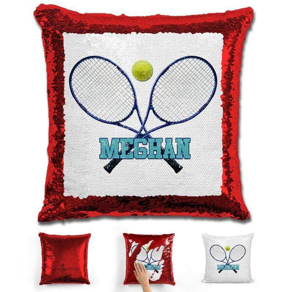 Tennis Personalized Magic Sequin Pillow Pillow GLAM Red Blue
