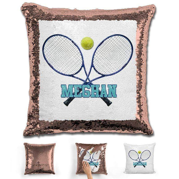 Tennis Personalized Magic Sequin Pillow Pillow GLAM Rose Gold Blue