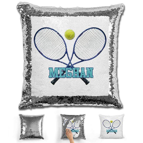 Tennis Personalized Magic Sequin Pillow Pillow GLAM Silver Blue