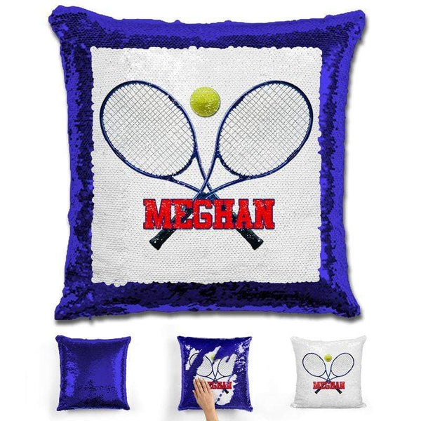 Tennis Personalized Magic Sequin Pillow Pillow GLAM Blue Red