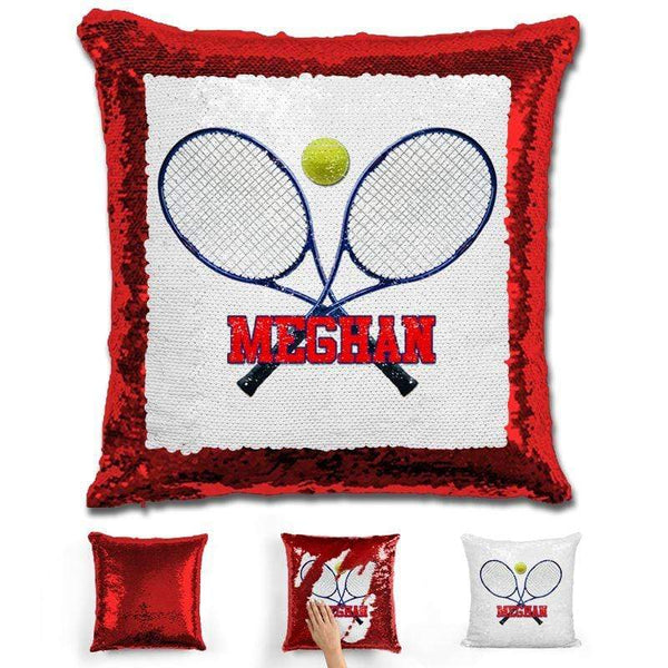 Tennis Personalized Magic Sequin Pillow Pillow GLAM Red Red