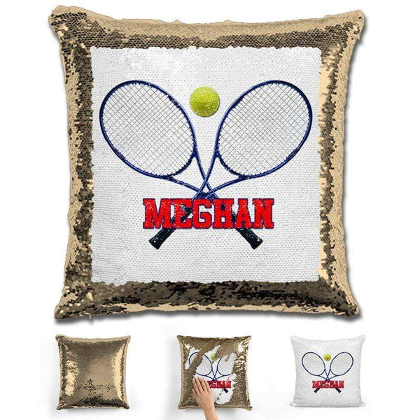 Tennis Personalized Magic Sequin Pillow Pillow GLAM Gold Red
