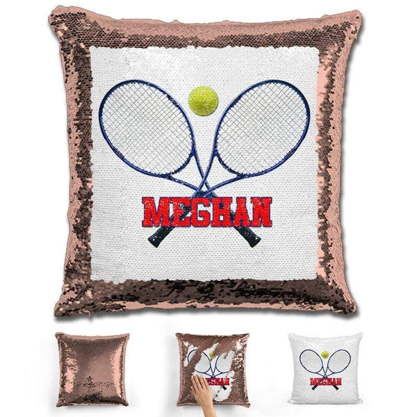 Tennis Personalized Magic Sequin Pillow Pillow GLAM Rose Gold Red