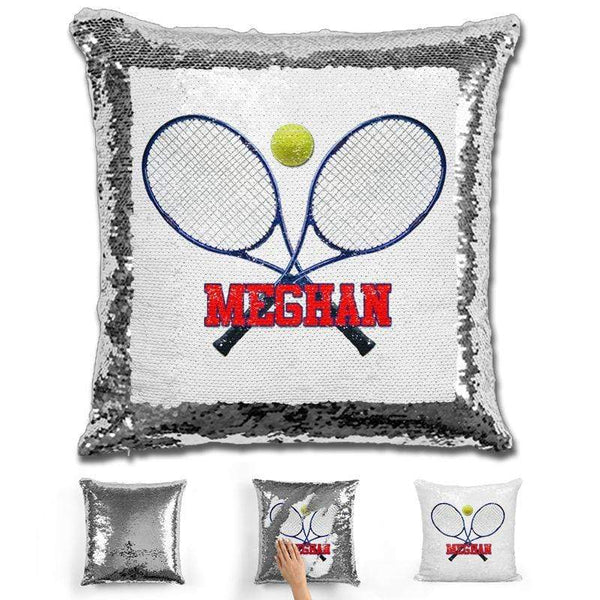 Tennis Personalized Magic Sequin Pillow Pillow GLAM Silver Red