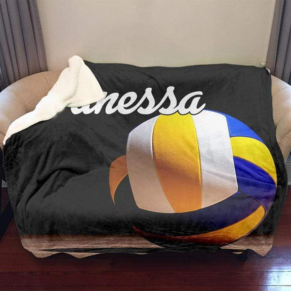 "Volleyball Personalized Sherpa Blanket Blankets Lemons Are Blue 50""x60"" Sherpa"