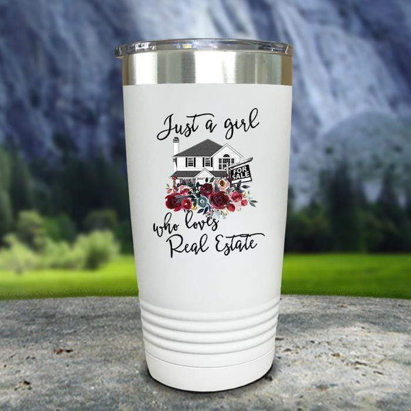 Just A Woman Who Loves Real Estate Color Printed Tumblers Tumbler Nocturnal Coatings 20oz Tumbler White