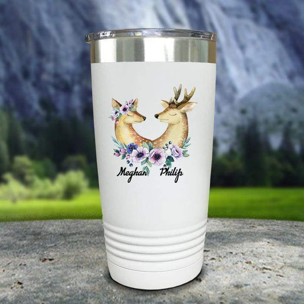 Buck and Doe Personalized Color Printed Tumblers Tumbler Nocturnal Coatings 20oz Tumbler White