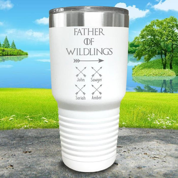 Father Of Wildlings (CUSTOM) With Child's Name Engraved Tumblers Tumbler ZLAZER 30oz Tumbler White