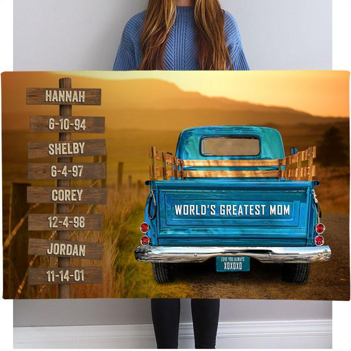 Vintage Truck Personalized Name Sign Canvas Custom Wall Art for Mom