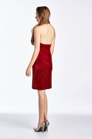 Women's Velvet Halter Dress