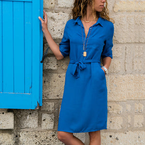 2018 New Autumn Winter Women Three Quarter Shirt Dress Fashion Ladies Turn-Down Collar Casual Loose Dresses Vestidos