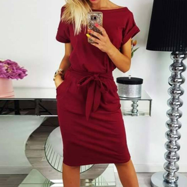 2018 New Summer Women Dress Knee-Length Sexy Bandage Bodycon Dress Short Sleeve Casual Dresses Sundress Femme GV451