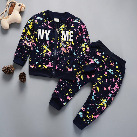 1 2 3 4 5 Years Baby Clothing Set Autumn Spring Casual Boys Boys Girls Clothes Long Sleeve Coats + Pants 2pcs Kids Suits
