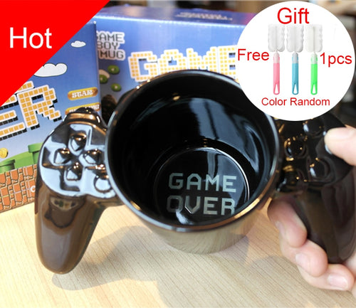 1 Pcs Creative Gamepad Cup, personalized shape coffee milk Boy Game Over mugs Gamepad Controller Coffee mug Birthday Gift