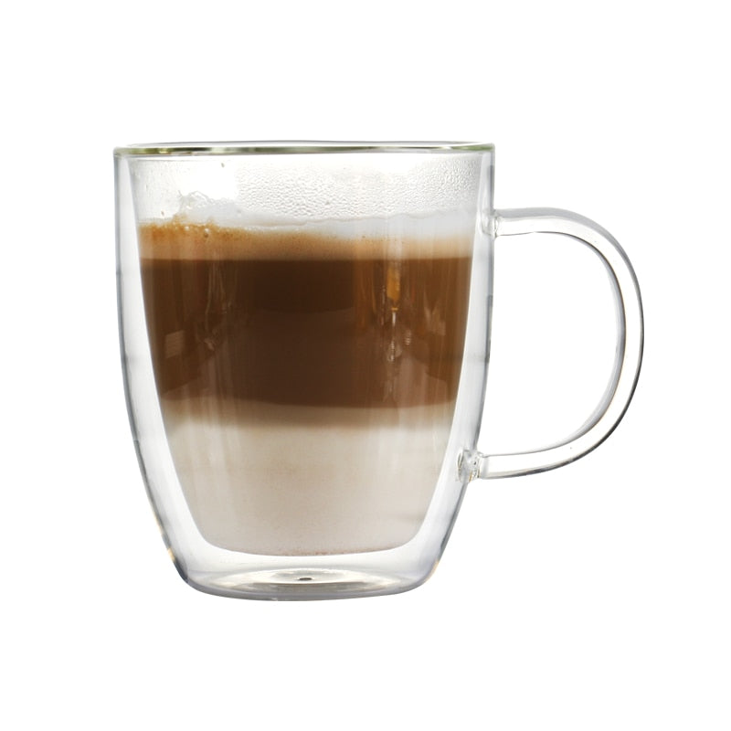 16 ounce double wall heat resistant borosilicate coffee mug for latte mixed drinks or other juice daily use 475ml