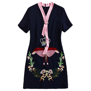 17 2018 Latest High Quality Autumn Fashion Designer Summer Retro Women V-Neck Short Sleeve Butterfly + Flower Embroidery Dress - MASTYLES ONLINE EXPRESS