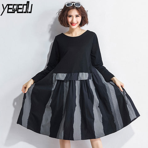 #1760 Spring Autumn Black Spliced Fake Two Piece Long Sleeve Stripe Dress Round Neck Plus Size Vintage Pleated Dresses Women