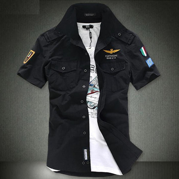 2017 NEW short sleeve shirts Fashion airforce uniform military short sleeve shirts men's dress shirt free shipping - MASTYLES ONLINE EXPRESS