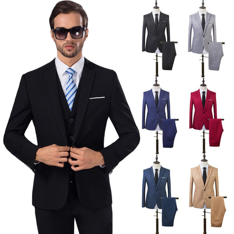 2 Pcs Mens Fashion Plaid Boutique Formal Business Suit Jackets Men Groom Wedding Dress Suit Coats Mens Casual Suit Blazers