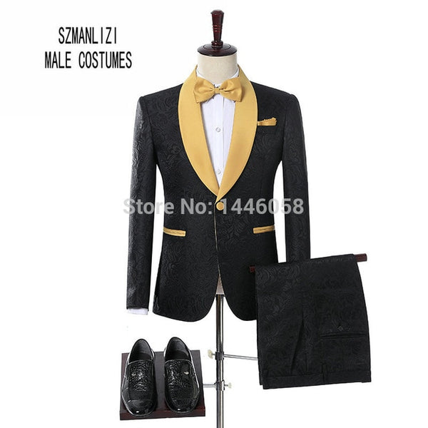 2017 Men Black Double Breasted Wedding Groom Suit With Pants Tuxedo For Men Wedding Suits Prom Best Man Suit (Jacket+Pants+Bow) - MASTYLES ONLINE EXPRESS