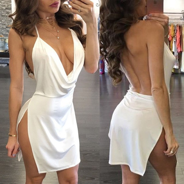 Casual Sleeveless Sexy Ladies Solid Deep V-Neck Satin Beach