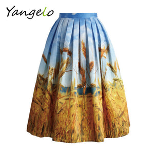 2017 new Summer women skirts High Waist Vintage Golden Wheat Field Pleated Midi Skirt