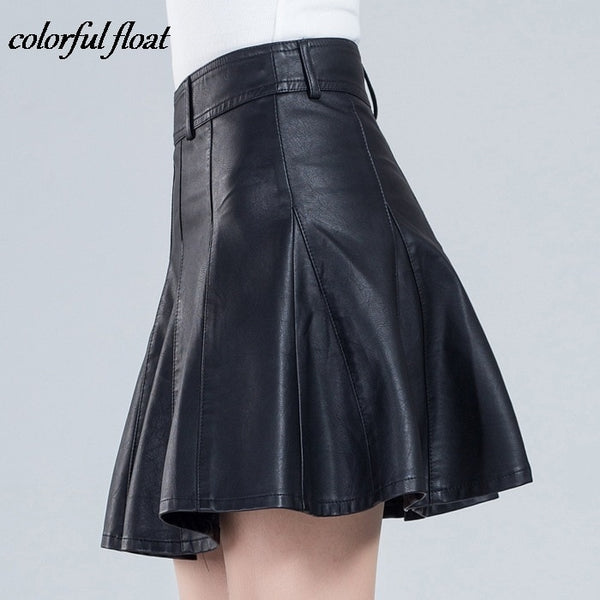 2017 new short skirt women's autumn and winter models were thin code half skirt a word pleated PU leather skirt 03