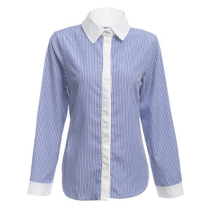Stylish Long Sleeve Backless Tie Stripe Button Women Shirt
