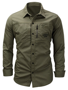 Turndown Collar Zipper Design Embroidered Cargo Shirt