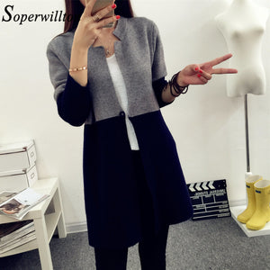 2018 Autumn Knitting Loose Women's Cardigans Patchwork Long Sleeve Simple jumper female cardigan Sweaters Korea Style Coats #Y5 - MASTYLES ONLINE EXPRESS