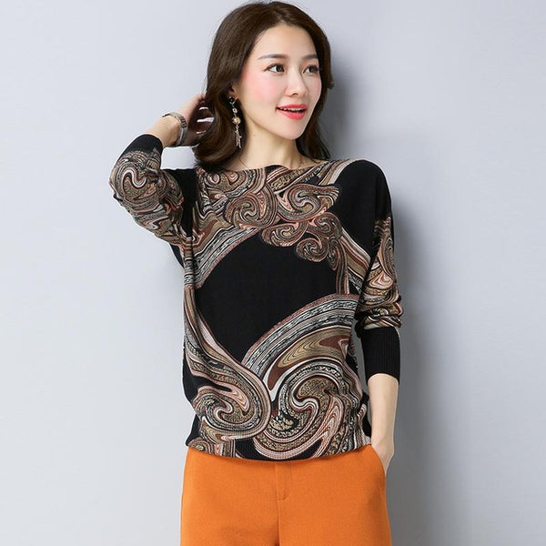 2018 Autumn&Winter NEW Knitted sweaters Women printing Pullovers Oblique collar  Long Sleeve Knitted Soft Warm Pullover Female - MASTYLES ONLINE EXPRESS