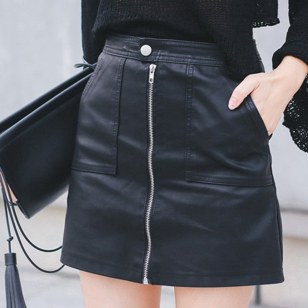 2018 Autumn Winter Women Skirt PU Leather Sexy Mini Skirt With Pockets Zipper A-line Package Hip High Waist Women Clothing