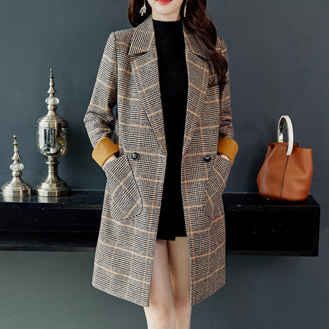 2018 Autumn Winter Wool Women Plaid Pockets Blends Office Work Long Coats Fashion Brand Lady Slim Lapel Long Sleeve Blends Sexy
