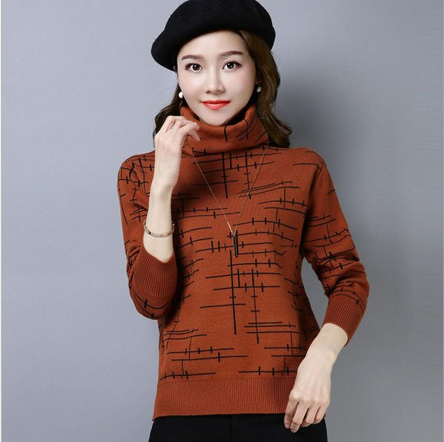 2018 Autumn and winter wear new pullover women's large size slim  sweater