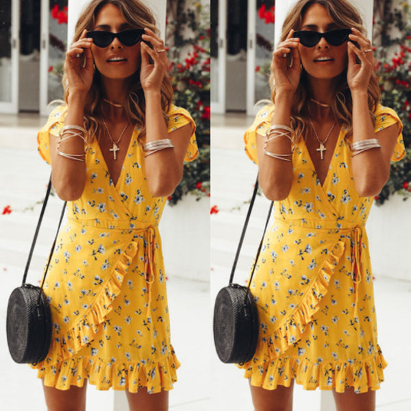2018 Bohemian Style Women Summer Casual Short Sleeve V Neck Bandage Bodycon Evening Party Print Short Mini Dress - MASTYLES ONLINE EXPRESS