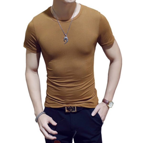 2018 Fashion Mens T Shirt Round Neck Elastic Plus Size 3XL Solid Color Teenager Shirt Tee Base Short Sleeve Shirts - MASTYLES ONLINE EXPRESS