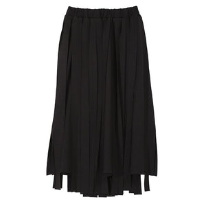 2018 Korean Style Women Black Blue A-Line Skirts With Many Tapes Elastic Waist Mid Calf Length Stylish Unique Casual Skirts 3833