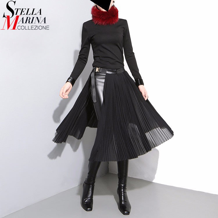 2018 Korean Style Women Black Pleated Chiffon Skirt Leather Belt Adjustable Waist Girls Unique Midi Sexy Party Wear Skirts 876