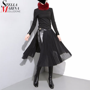 19a582d539 2018 Korean Style Women Black Pleated Chiffon Skirt Leather Belt Adjustable  Waist Girls Unique Midi Sexy