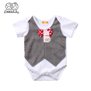 2018 Latest Children's Wear Newborn Toddler Baby Kids Boy Outfit 100% Cotton Gentleman Clothes Bowtie Jumpsuit Bodysuit 0-24M - MASTYLES ONLINE EXPRESS