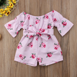 2018 Latest Children's Wear Princess Baby Girl Floral Romper Off shoulder Flare Sleeve Bow Striped Jumpsuit Playsuit Clothes - MASTYLES ONLINE EXPRESS