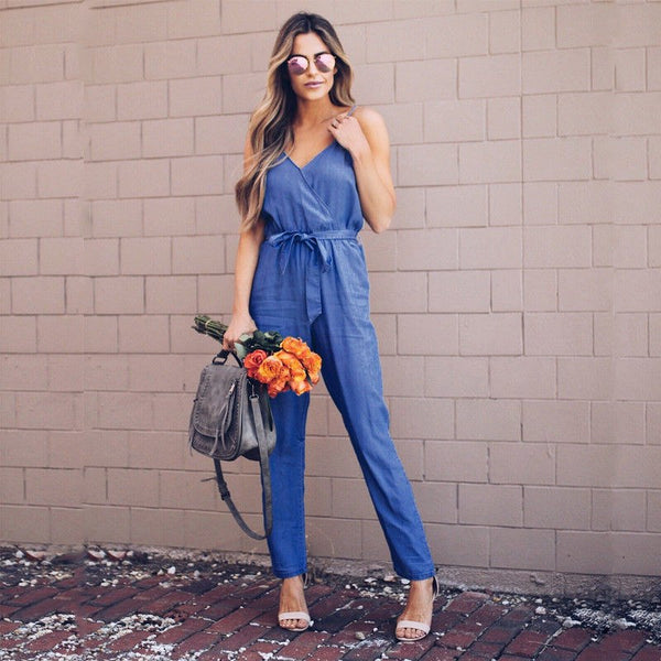 2018 Latest Style Fashion Women's Sleeveless Lace Up V Neck Casual Clubwear Playsuit Bodysuit Party Jumpsuit Romper - MASTYLES ONLINE EXPRESS