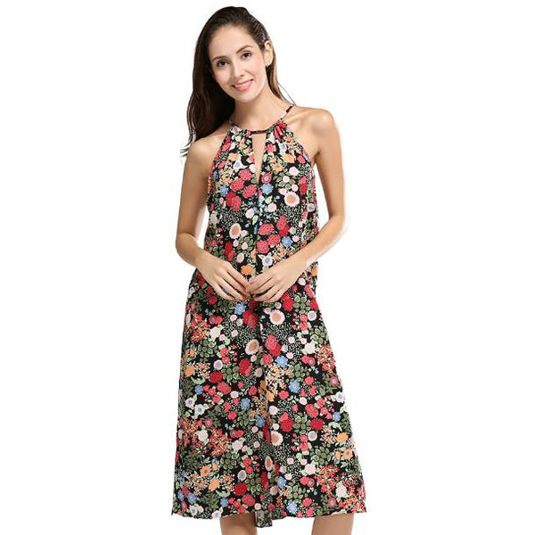 2018 Latest Summer Dress Sexy Backless Halter Women Dresses Casual Loose Sleeveless Print Floral Medium-Long Beach Dress Ok152a - MASTYLES ONLINE EXPRESS