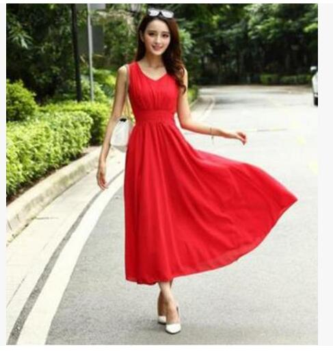 2018 Latest Women's Fashion Beach Dress Sexy O-Neck Sleeveless Solid color Bohemian Chiffon Long dress Slim plus-size SQ123 - MASTYLES ONLINE EXPRESS
