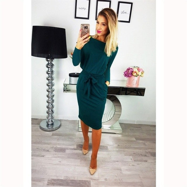 2018 New Arrival Autumn Winter Dress Women Fashion Casual Long Sleeve Knee-Length Pencil Dress Vestidos Sexy Slim Party Dresses - MASTYLES ONLINE EXPRESS