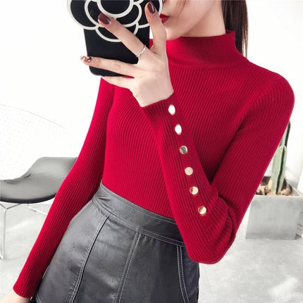 2018 New Autumn winter Women Knitted Sweater Pullovers Turtleneck Long Sleeve Solid Color Slim Elastic sweater mujer YM797 - MASTYLES ONLINE EXPRESS