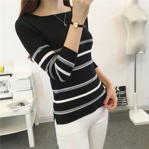 2018 New Autumn winter Women Knitted Sweaters Pullovers Square collar Long Sleeve Striped Slim Elastic Sweater Women FP2001 - MASTYLES ONLINE EXPRESS