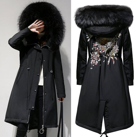2018 New Big Size Women XL-5XL Parkas Coats Winter Warm Hooded Zipper Long Jackets Flocking Outerwear Coats