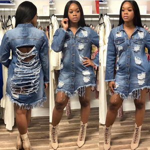 2018 New Fashion Denim Jackets for Women Vintage Casual Coat Female Jean Outerwear Women Coats Broken Hole Plus Size